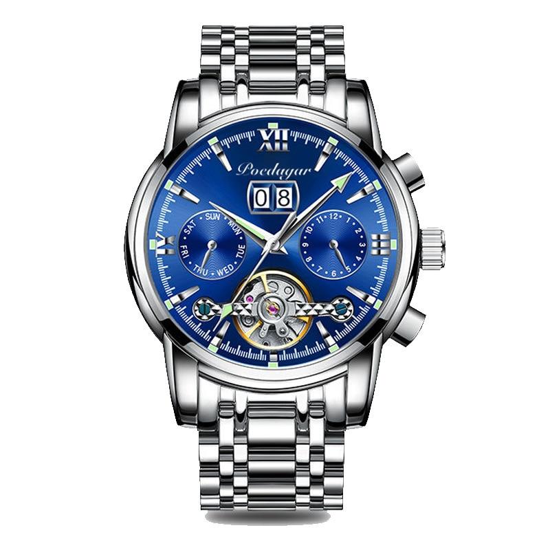 POEDAGAR Masculino New Sport Chronograph Men Watches Top Brand Luxury Full Steel Quartz Clock Waterproof Big Dial Watch