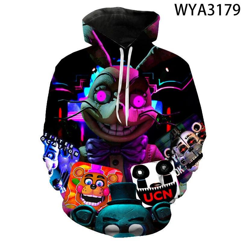 Neue 3D Gedruckt Fnaf Hoodies Jungen Mädchen Kinder Pullover Mit Kapuze Casual Männer Frauen Kinder Sweatshirts Pullover Streetwear Fashion Tops