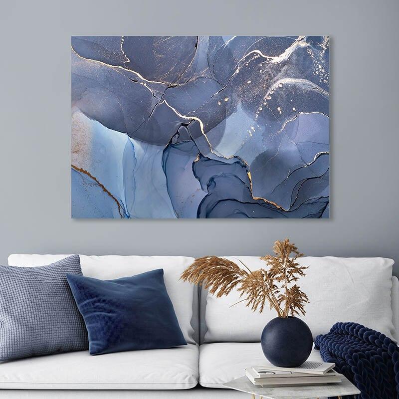 Póster abstracto con textura de mármol, Impresión de arte de pared dorado y azul, pintura de tinta de lienzo de estilo moderno, cuadro decorativo nórdico para decoración del hogar