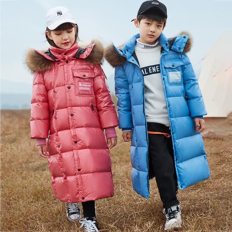 2021 Hooded Fur Girls Winter Jacket Long Warm Boys Parkas Outdoor Fashion Children Coat Windproof Teenager Kids Snowsuit Clothes enlarge