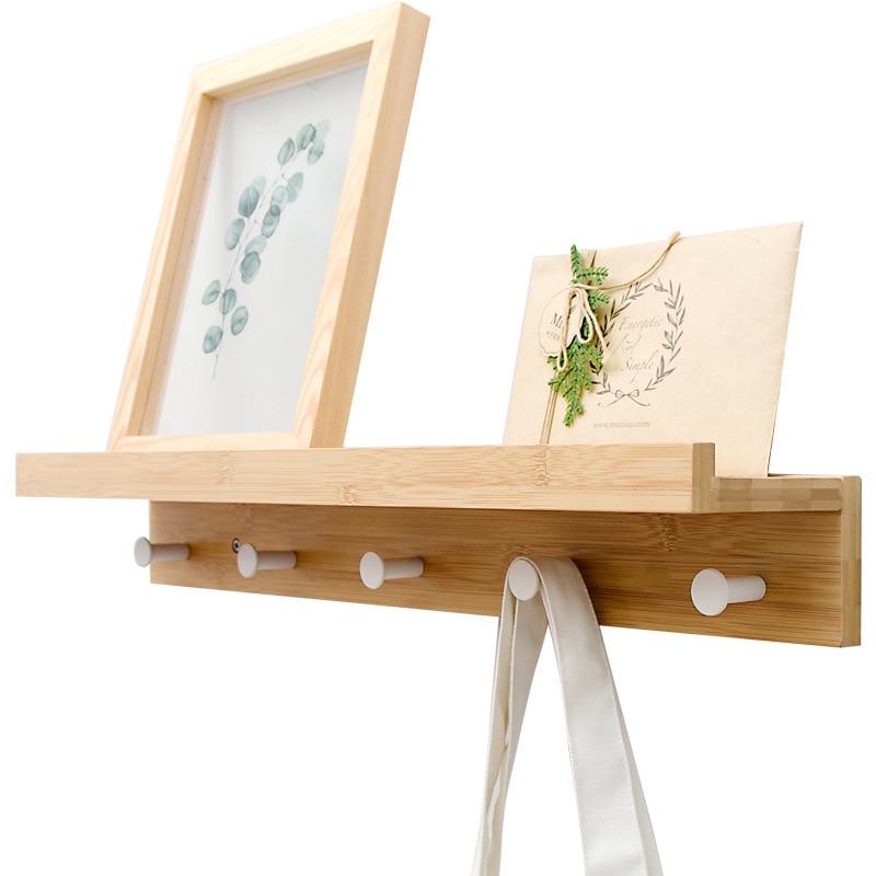 Bamboo Floating Wall-Mounted Rack Coat Hook Rack Towel Hanger Holder European Style Dress Coat Hook Wall Door Hat Hanger