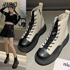 HMXO French Retro Round Toe Women's Boots Martin Boots Thick Heel Black and White Stitching Short Boots Casual Women's Shoes