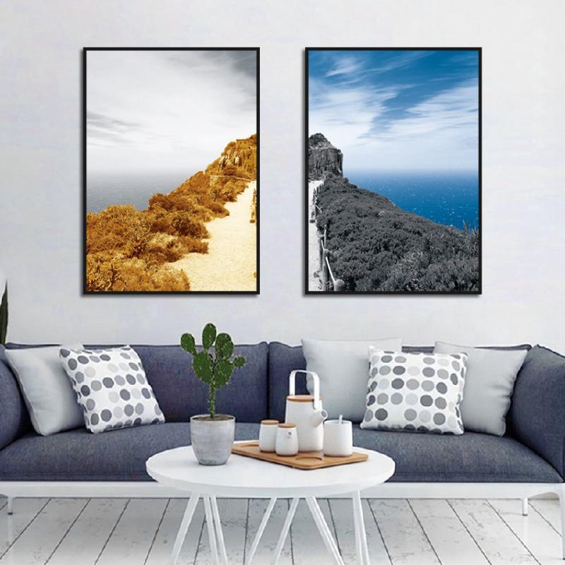 Montaña, mar, bosque, paisaje, cartel, impresión, pintura de alta definición, arte, color, pintura decorativa, decoración de la vida del hogar