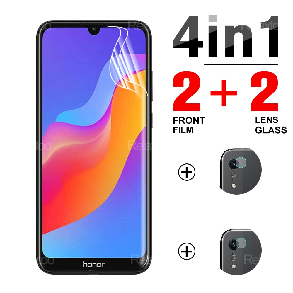 4-IN-1 2Pcs Front Film + 2Pcs Soft Lens Glass For Honor 8a 8c 8s 8x Pro Prime Screen Protector Safety Protective Film On Honor8a