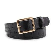 Cinturón de cuero de diseñador Para Mujer, cinturón cuadrado de piel, hebilla dorada, serpiente, Cocodrilo, color negro y marrón