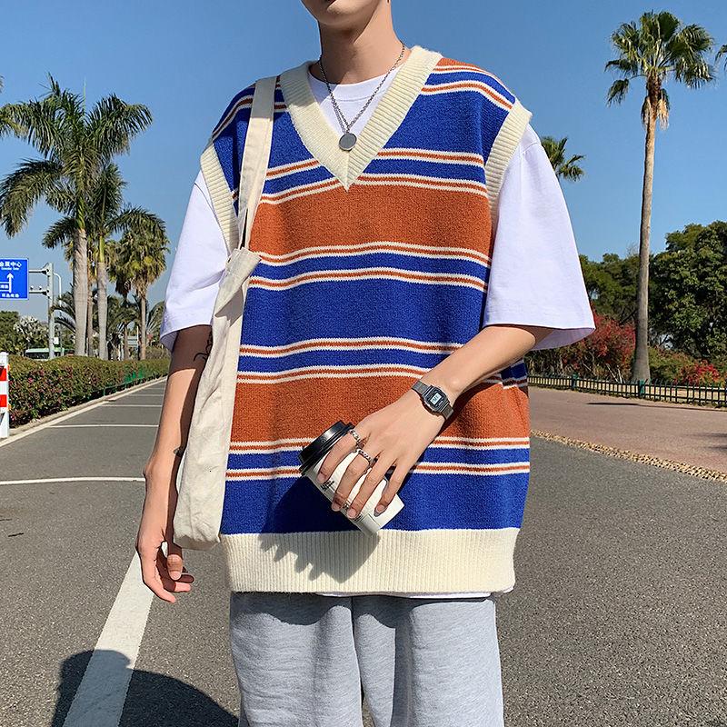 Sweater Vest Men's Fashion Retro Casual V-neck   Men Streetwear Korean Loose   Pullover Mens Clothes M-2XL
