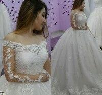 pearls lace off the shoulder long sleeves wedding dress 2021 arabic bridal gowns festido de noiva princesa desmontables falda