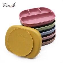 Plato de silicona sólido para alimentación de bebé, plato de silicona con ventosa, platos con tapa sin BPA, tazones de alimentación para niños, vajilla