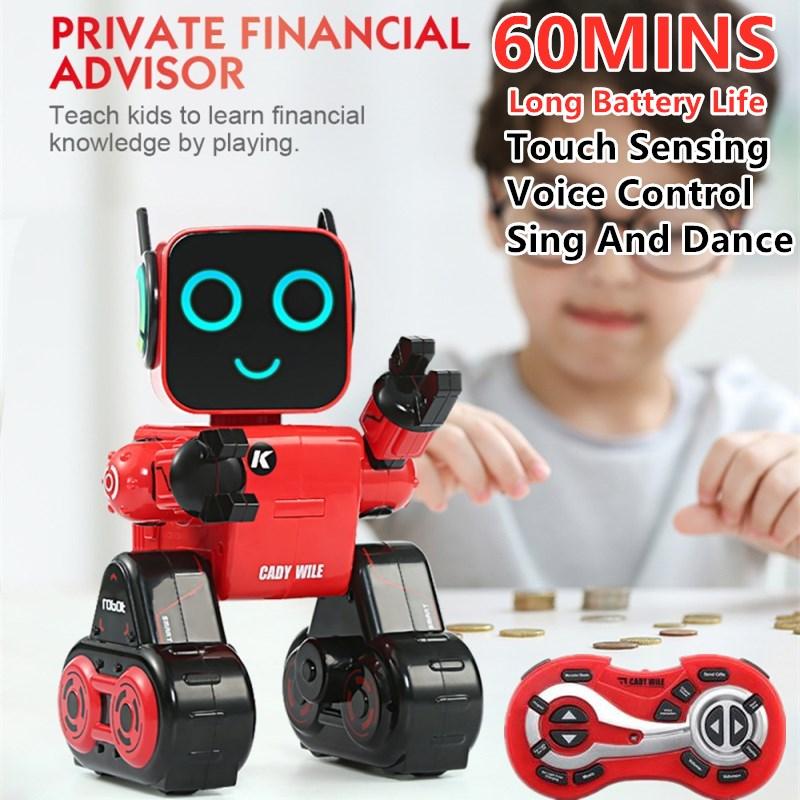 Robot de Control remoto inteligente RC 2,4G Sensor táctil Control de voz canto y baile almacenamiento de monedas objetos móviles Robot Juguetes