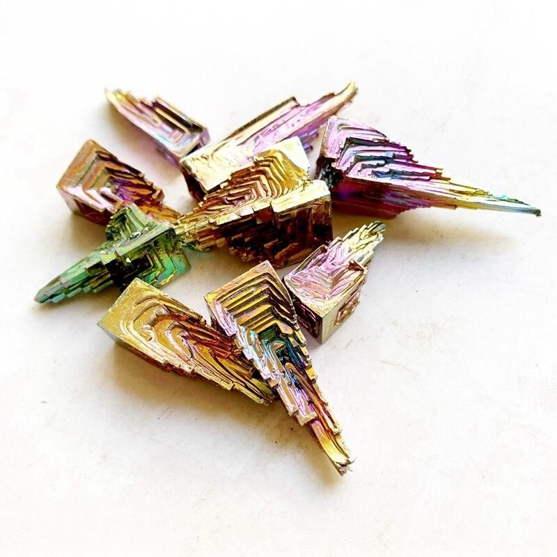 Cristales de bismuto Arco Iris mineral de antimonio Natural espécimen arte hogar colección colorido Metal mineral curativo 1 pieza