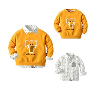 Baby boys cartoon sweater and shirt 2pcs set kids print turn-down collar shirt and casual cardigan brothers fashion suit