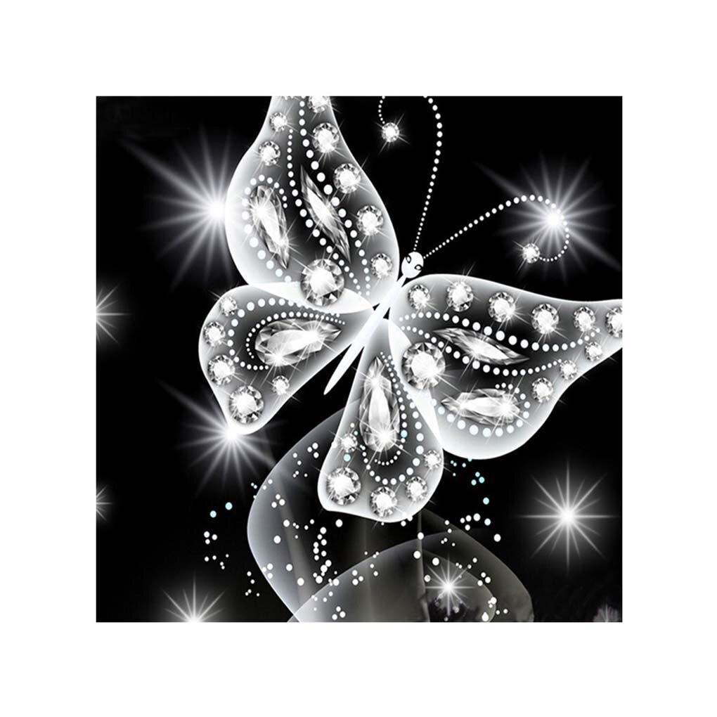 Pintura diamante mariposa blanca cuadro de diamantes de imitación Cruz costura 5D bordado imagen dibujo bordado Stitchwork