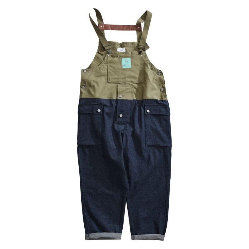 بذلة رجالية من الدنيم ، سروال فضفاض غير رسمي ، أرجل واسعة ، لصق ، ملابس الشارع الياباني ، هيب هوب ، سروال كارغو