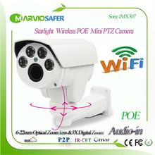 Caméra sans fil de caméra PTZ de sécurité de wi-fi de télévision en circuit fermé de Starlight de marviosafe 1080P, fente de TF, objectif motorisé de Zoom de 6-22mm, Onvif