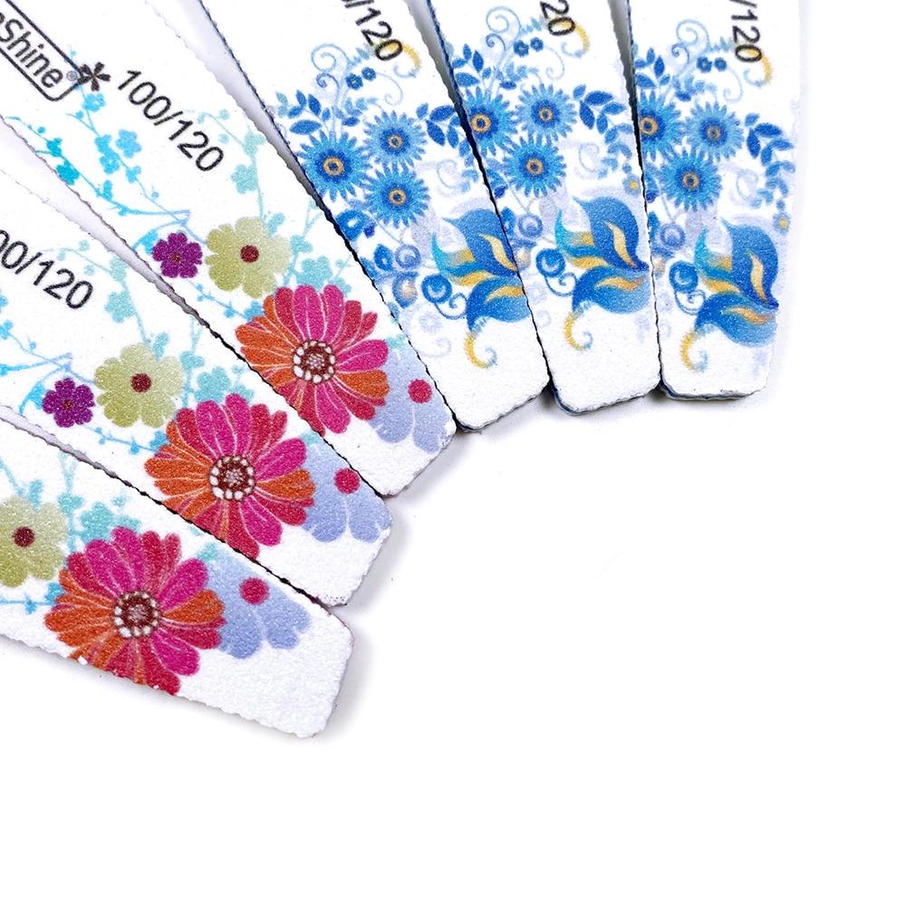 Limas profesionales para uñas, 6 uds. 100/120, color rojo, azul, flor, media luna, bloque para pulido, lijado, pedicura, accesorios de salón
