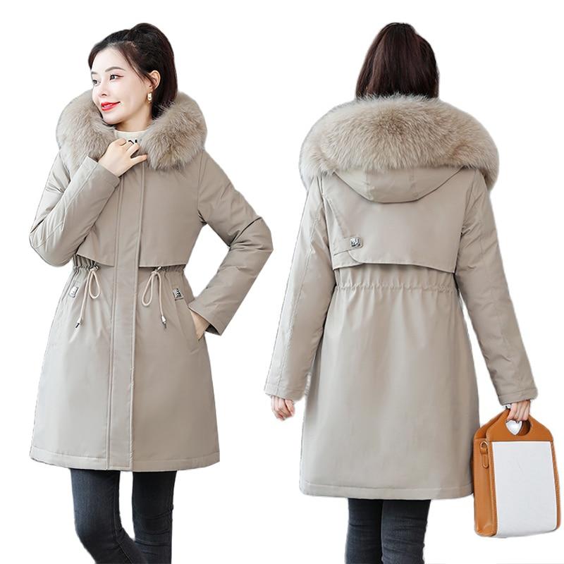 2021 جديد الشتاء النساء معطف مقنع الفراء طوق رشاقته الدافئة سترة طويلة الإناث ملابس خارجية الكشمير بطانة سترة سيدة البخاخ سترات