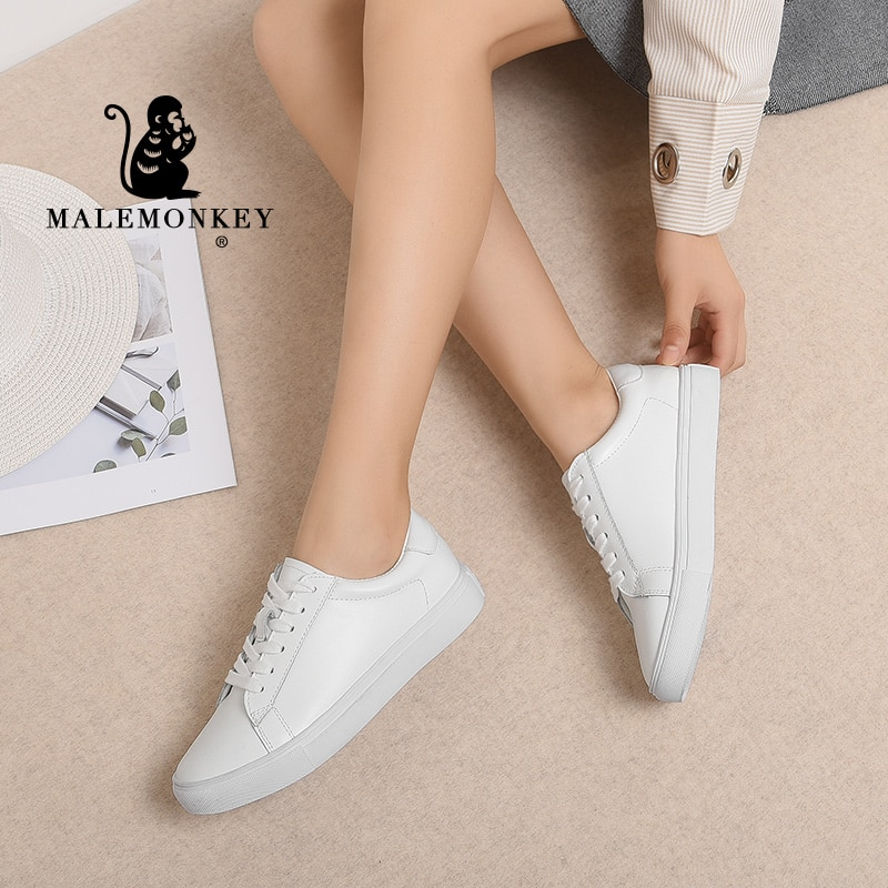 Genuine Leather Women Flats Casual White Shoes 2021 Spring Autumn Outdoor Soft Comfortable Lace Up Sneakers Zapatos De Mujer lucyever spring autumn platform slip on women graffiti casual shoes mixed colors flats comfortable chaussure femme zapatos mujer