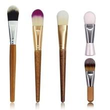 Nylon Hair Wooden Handle Women Makeup Tool Cosmetic Mask Mini Brush Liquid Cream Foundation Skin Car