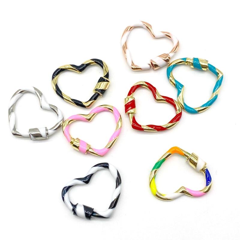 10 قطعة/الوحدة المينا قفل مجوهرات النحاس القلب برغي المشبك لصنع المجوهرات