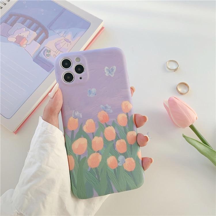 Funda de teléfono Retro de flores de tulipán con pintura al óleo kawaii para iPhone 11 Pro Max, funda bonita para iPhone XS XR X 7 8 Plus 7Plus