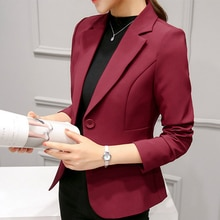 Women Blazers And Jackets Spring Autumn Long Sleeve Blazer Women Solid A Button Suit Office Ladies B