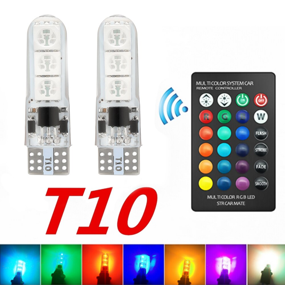 10x newest t10 194 168 w5w 6smd 5730 car led silicone shell auto dome parking lights car side wedge light lamp bulb car styling RGB Bulb T10 W5W Led 194 168 W5W 5050 6SMD Car Dome Reading Light Automobiles Wedge Lamp RGB LED Bulb With Remote Controller