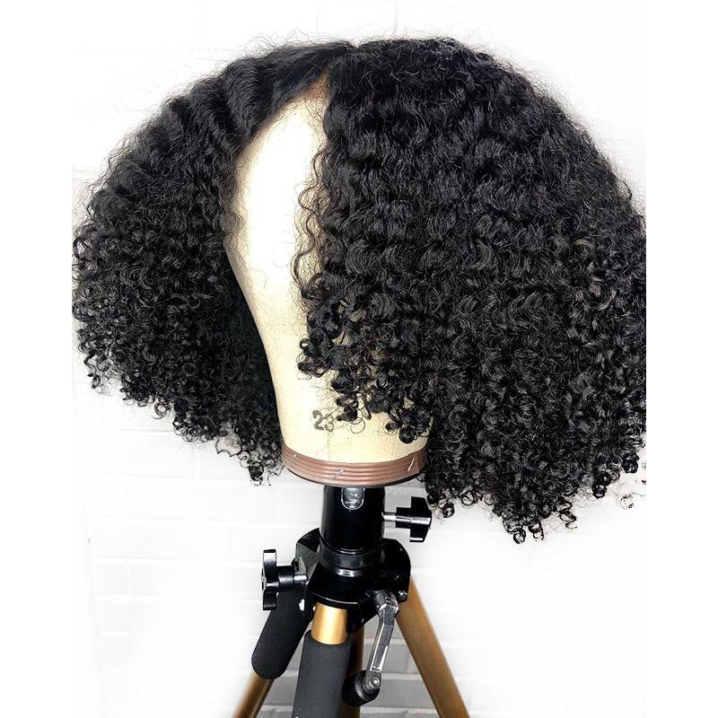 Parte profunda Afro rizado 13X6 pelucas delanteras de encaje Natural brasileño cabello humano Remy pelucas para mujeres negras invisible Pre arrancado