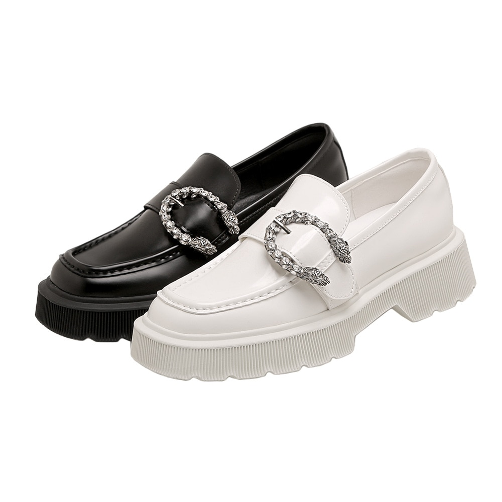 SUMAITONG Platform Loafers Women PU Casual Solid Slip-On Sweet Flats Metal Decoration Square Toe Female Loafers Shoes For Women