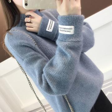 2020 Women Sweater New Mink Fleece Turtleneck Sweatshirt Autumn Winter Loose Lazy Pullover Thickened Chenille Base Sweater enlarge