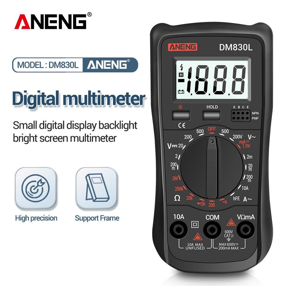 Multímetro Digital ANENG DM830L, probadores de 1999, multímetro DC/AC de capacitancia de Transistor eléctrico con retroiluminación LCD
