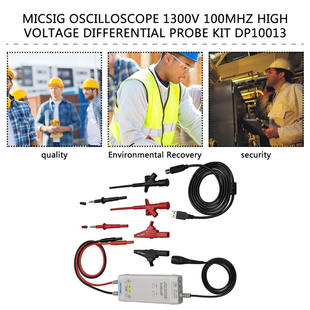Micsig Oscilloscope 1300V 100MHz High Voltage Differential Probe Kit 3.5ns Rise Time 50X/500X Attenuation Rate DP10013 Dropship enlarge