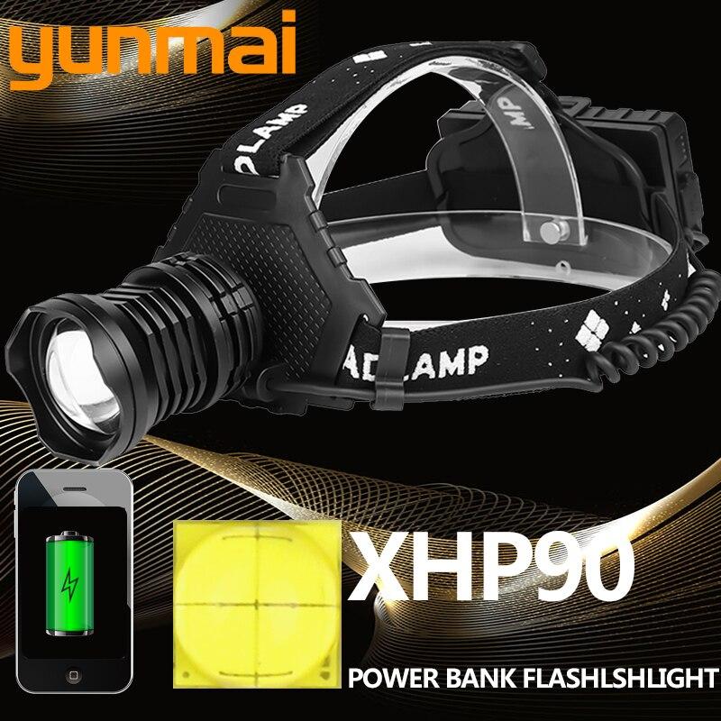 xhp90 2064 Led headlamp Headlight the most powerful 32W xhp70 xhp50 head lamp zoom power bank 7800mAh 18650 battery