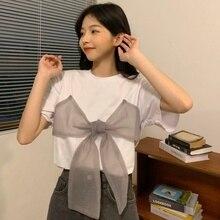 2021 Summer Clothing New Bow Design Wide T Tee Shirt Femme Harajuku Tops Tshirt Women Kawaii Korean