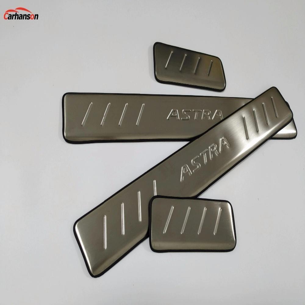 Para accesorios de diseño de coches 2010-2019 Opel voxhall Astra puerta inoxidable Sill raspado placa Cubierta Protector tiras autoadhesivo