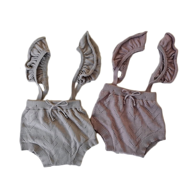 73-100 bebê primavera malha macacão bebê meninas cinta macacão cintura alta shorts outono moda sólida roupas de bebê