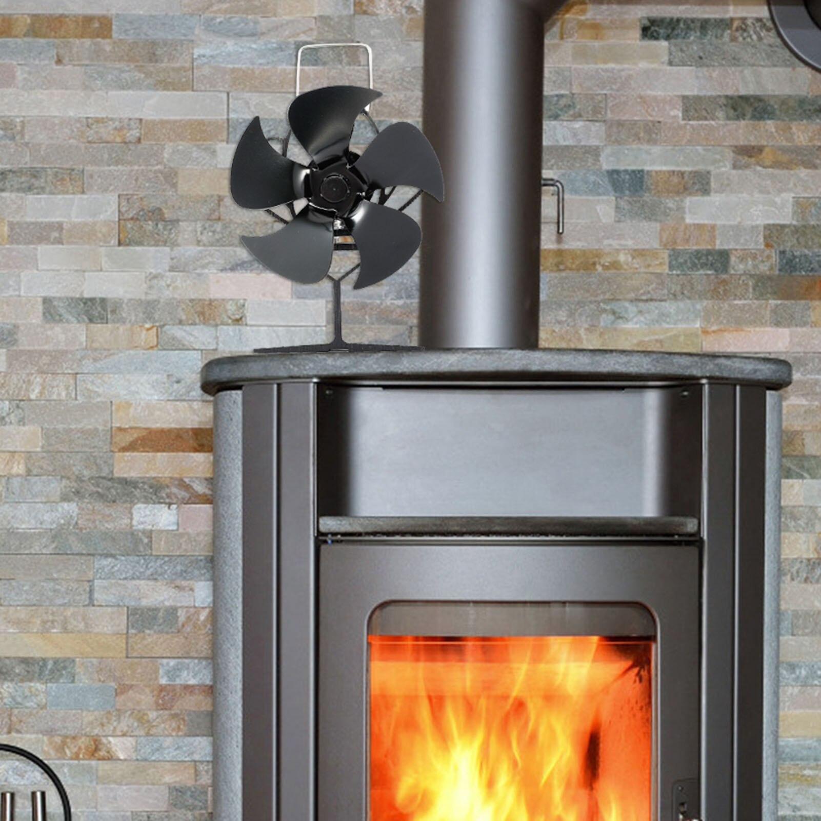 مدفأة 5 شفرات, مروحة مدخنة 5 شفرات هادئة وآمنة تعمل بالحرارة مروحة موقد مروحة توزيع الحرارة فعالة للمنزل