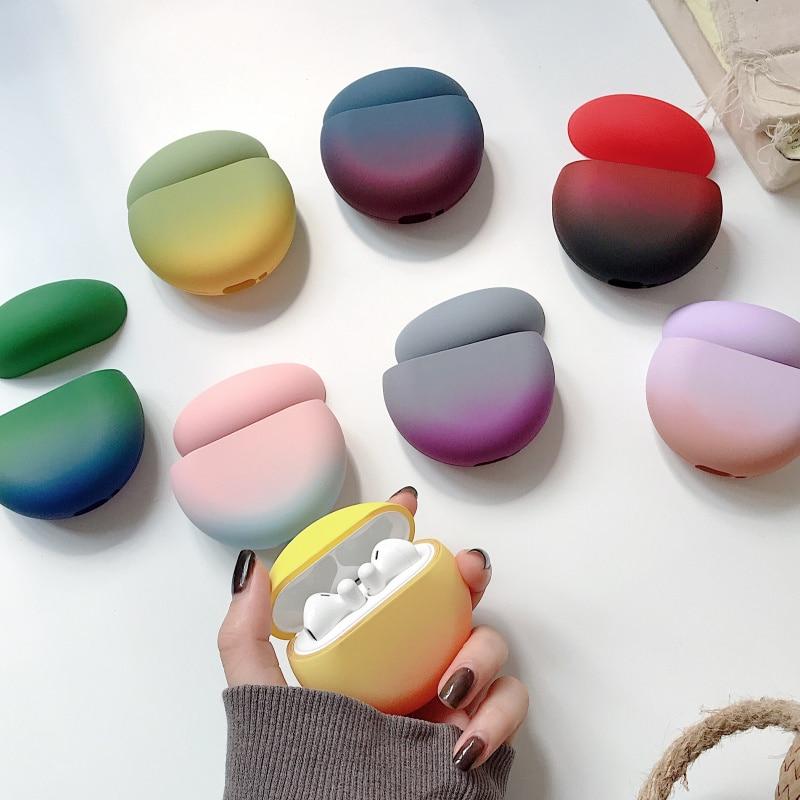 Funda mate para Huawei Freebuds 3 auriculares Bluetooth caja de Color caramelo para Freebuds 3 funda dura de color gradiente bolsa de regalo