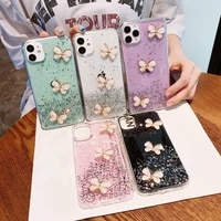 luxury shining diy crystal butterfly glitter cover for iphone 11 12 promax xsmax 6 6s plus 7 plus 8 plus phone case