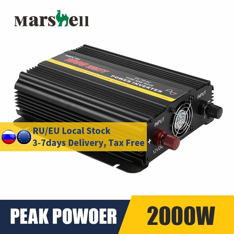 Onduleur à onde sinusoïdale Pure DC 12V à ca 110V/220V 1000W Max 2000W transformateur de tension convertisseur de puissance onduleur de voiture solaire