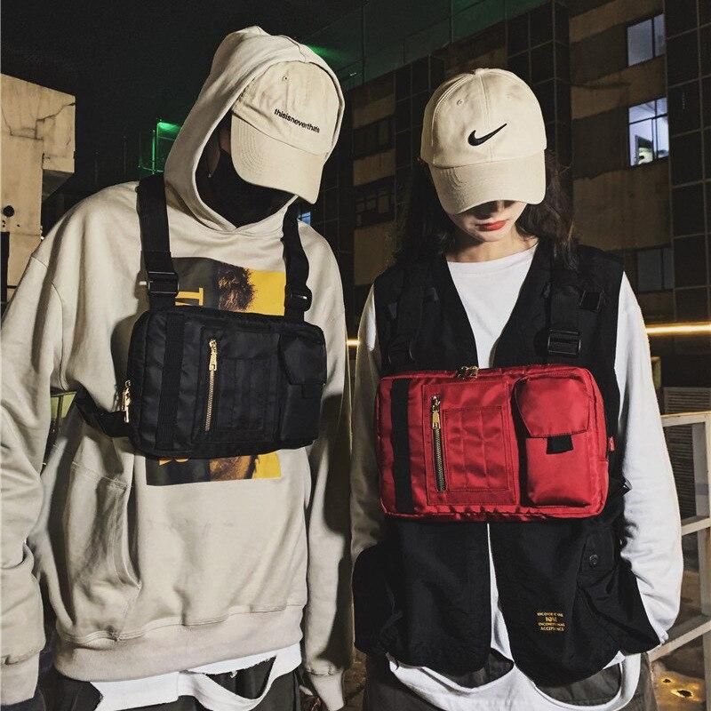 Men Nylon Black Tactical Bag Boy Chest Rig Bag Hip Hop Streetwear Multi-functional Unisex Kanye Chest Rig Tactical Wist Pack