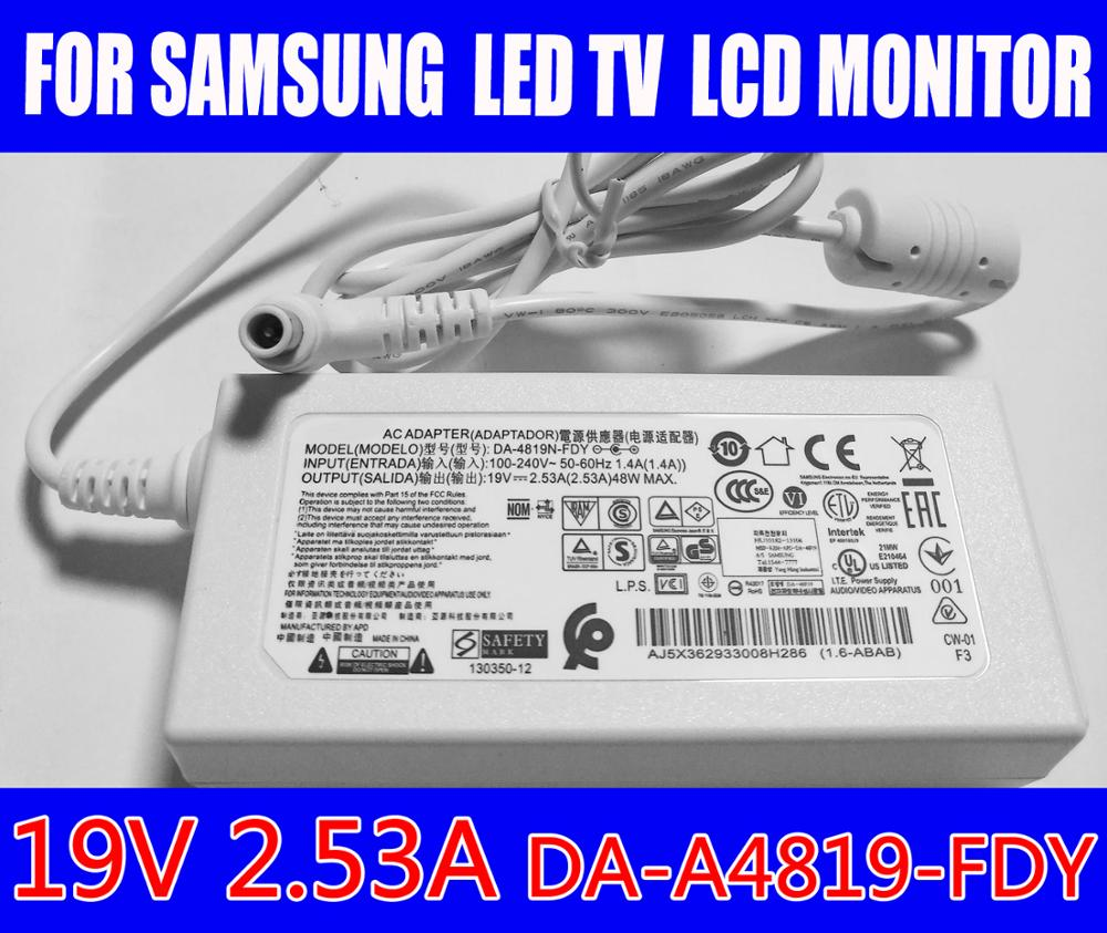 الأصلي ل سامسونج LED TV LCD رصد 19V 2.53A محول لابتوب LG A4819-KSML A4819_KSMBN44-00886A A4819-FDY HW-K360/شو