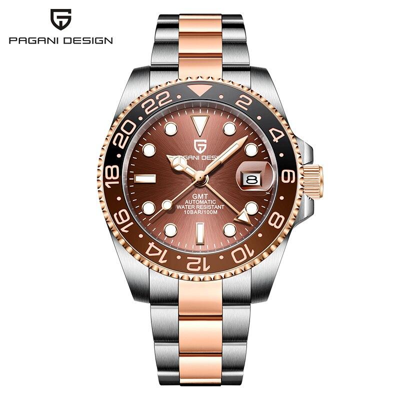PAGANI تصميم ساعة رجالية فاخرة 40 مللي متر GMT ساعة اليد الميكانيكية العلامة التجارية الأعلى الياقوت الزجاج الفولاذ المقاوم للصدأ الرياضة مقاوم ل...