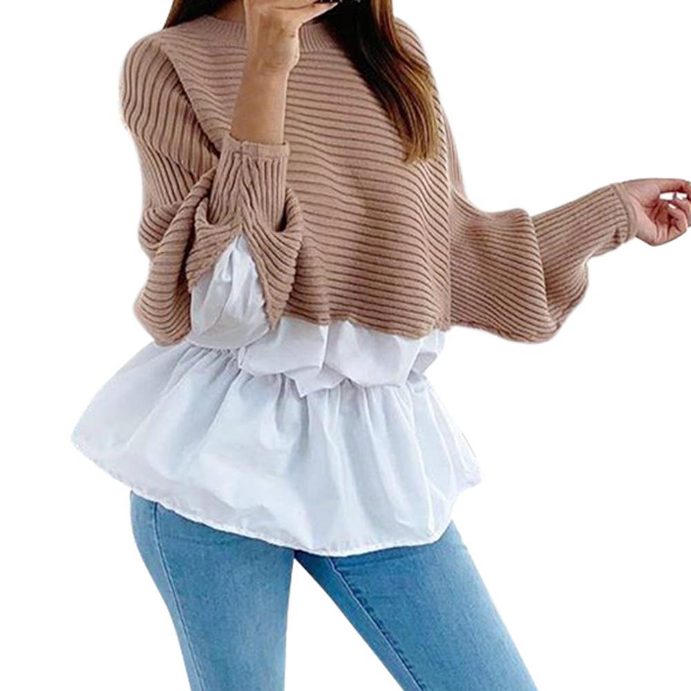 Otoño Invierno suéter mujer cuello redondo minimalista tejer suéter Casual