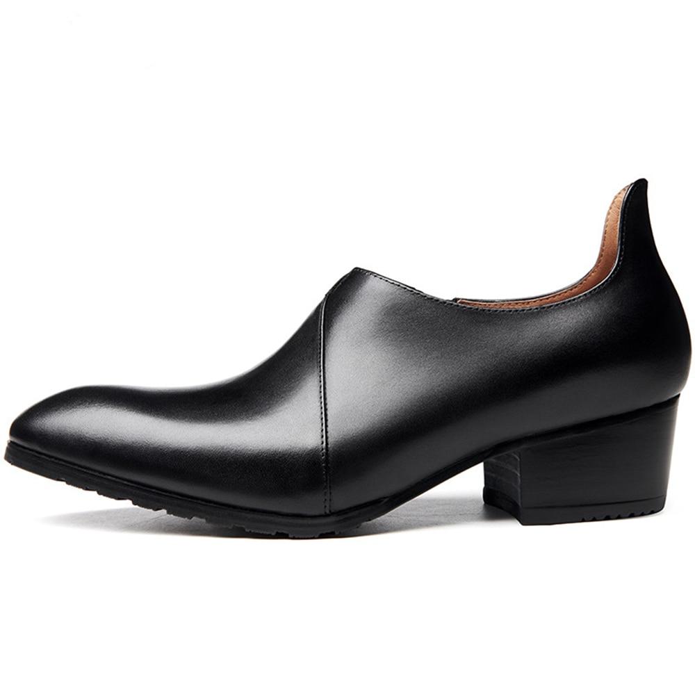 Men's Formal Leather Wedding Shoes High Heels Formal Dresses Footwear Pointed Black Zipper Shoes of Man