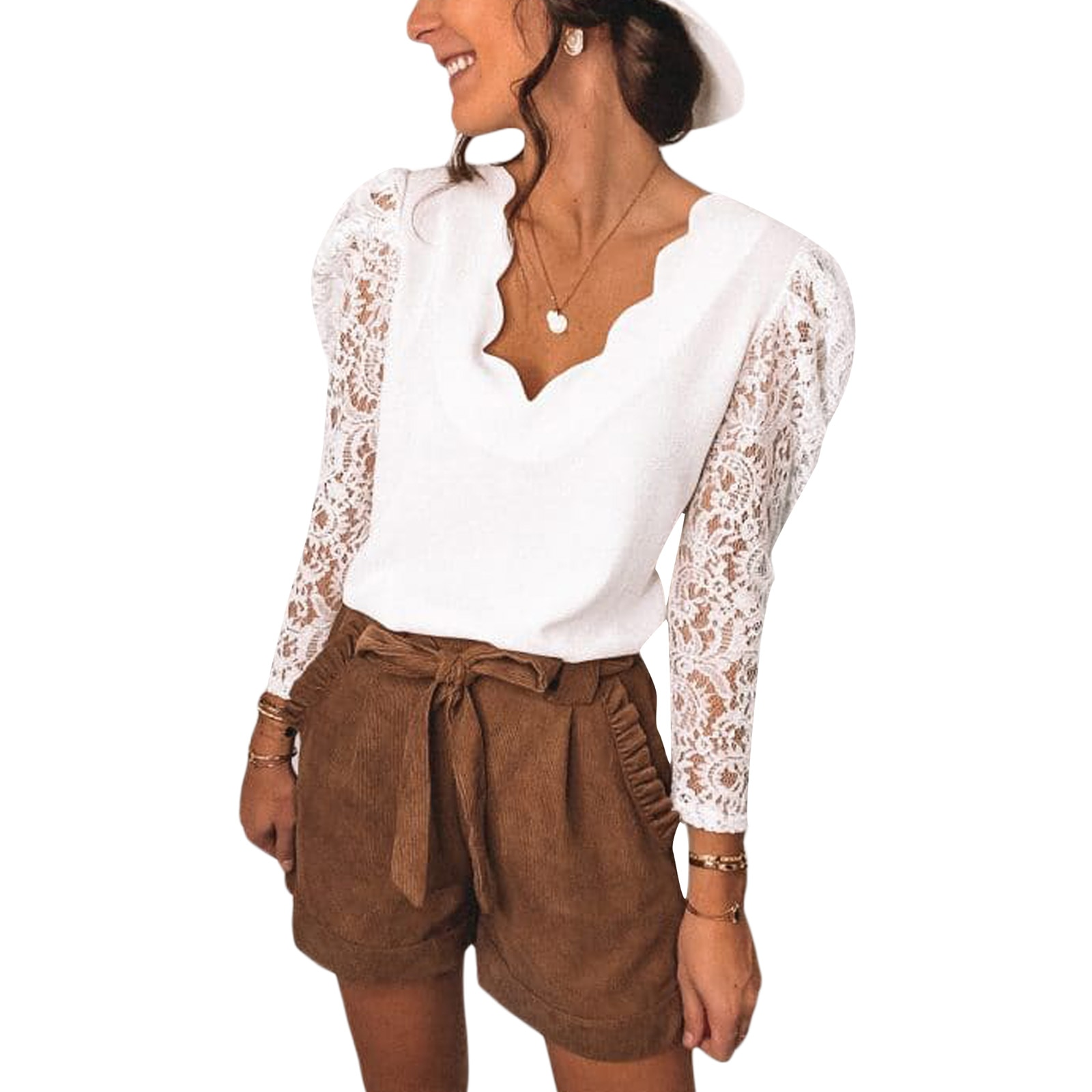 Women's T-shirt, Long Sleeve V-neck Lace Stitching Tops for Party Vacation Travelling Dating Holiday
