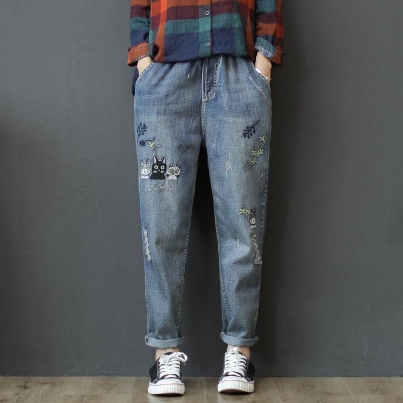 Women Spring Summer Fashion Korea Style Elastic Waist Vintage Embroidery Calf Length Harem Pants Office Lady Casual Loose Jeans