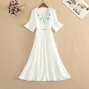 Women Summer Bohemian Embroidered Flower Dresses V-Neck Short Sleeve Pleated Chiffon Dress All-match Female White Vestidos New