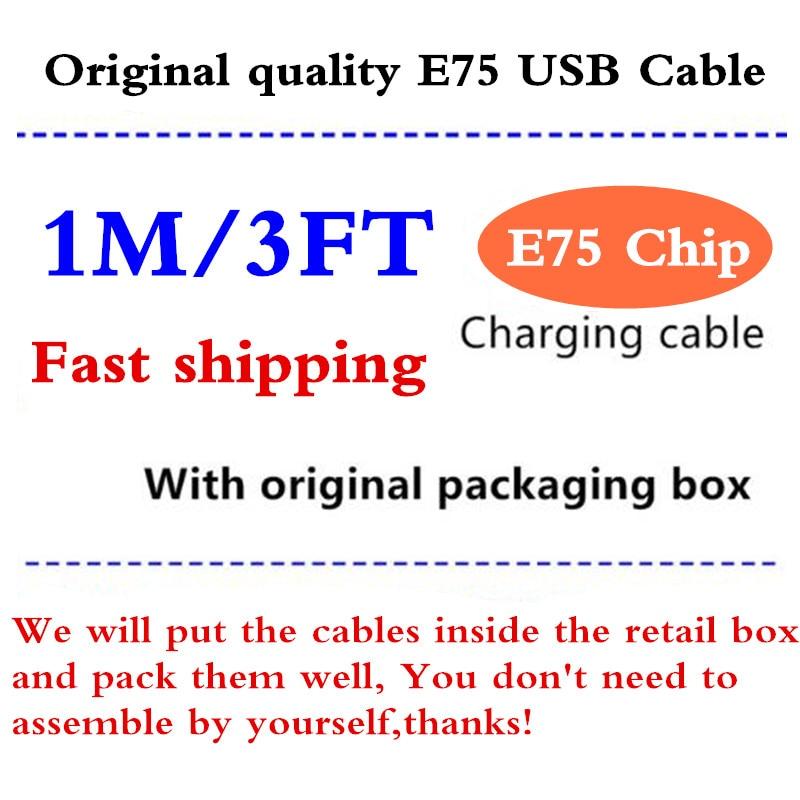 كابل شحن الهاتف الخلوي ، كابل بيانات USB مع شريحة 8ic/5ic 1M/3FT E75 5 5s 6 6S 7plus 8 8pl X ، 50 قطعة