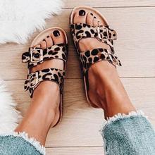 Woman Leopard Snake Print Double Buckle Decorative Set To Wear Open-toed Flat Bottom Fashion Casual