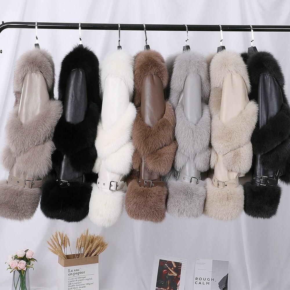 معطف من فرو الثعلب الأصلي ، جاكيت فاخر من جلد الغنم الأصلي ، ملابس خارجية ، مجموعة شتاء جديدة 2020